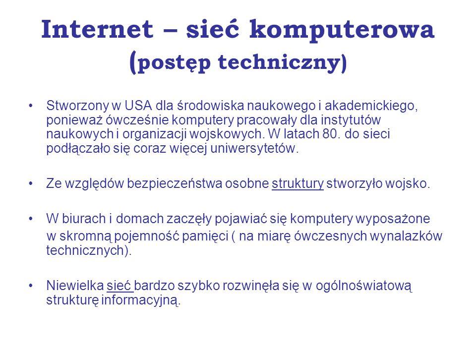 Internet – sieć komputerowa (postęp techniczny)