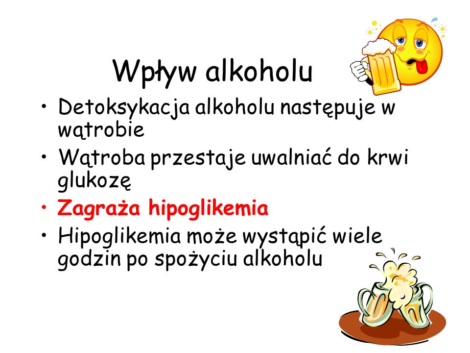 Wpływ alkoholu Detoksykacja alkoholu następuje w wątrobie