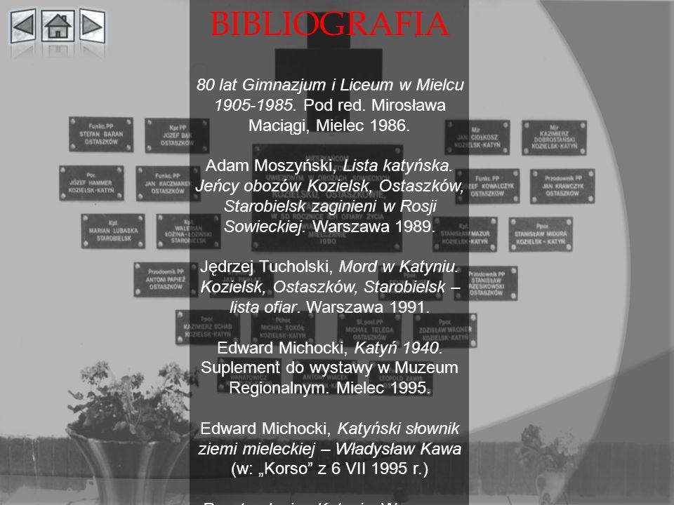 BIBLIOGRAFIA 80 lat Gimnazjum i Liceum w Mielcu 1905-1985. Pod red. Mirosława Maciągi, Mielec 1986.