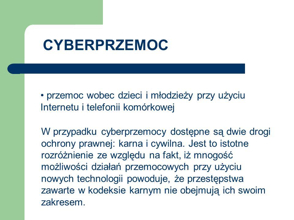 CYBERPRZEMOC przemoc wobec dzieci i młodzieży przy użyciu Internetu i telefonii komórkowej.