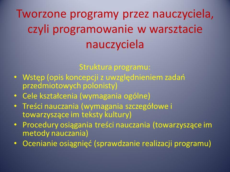 Tworzone programy przez nauczyciela, czyli programowanie w warsztacie nauczyciela