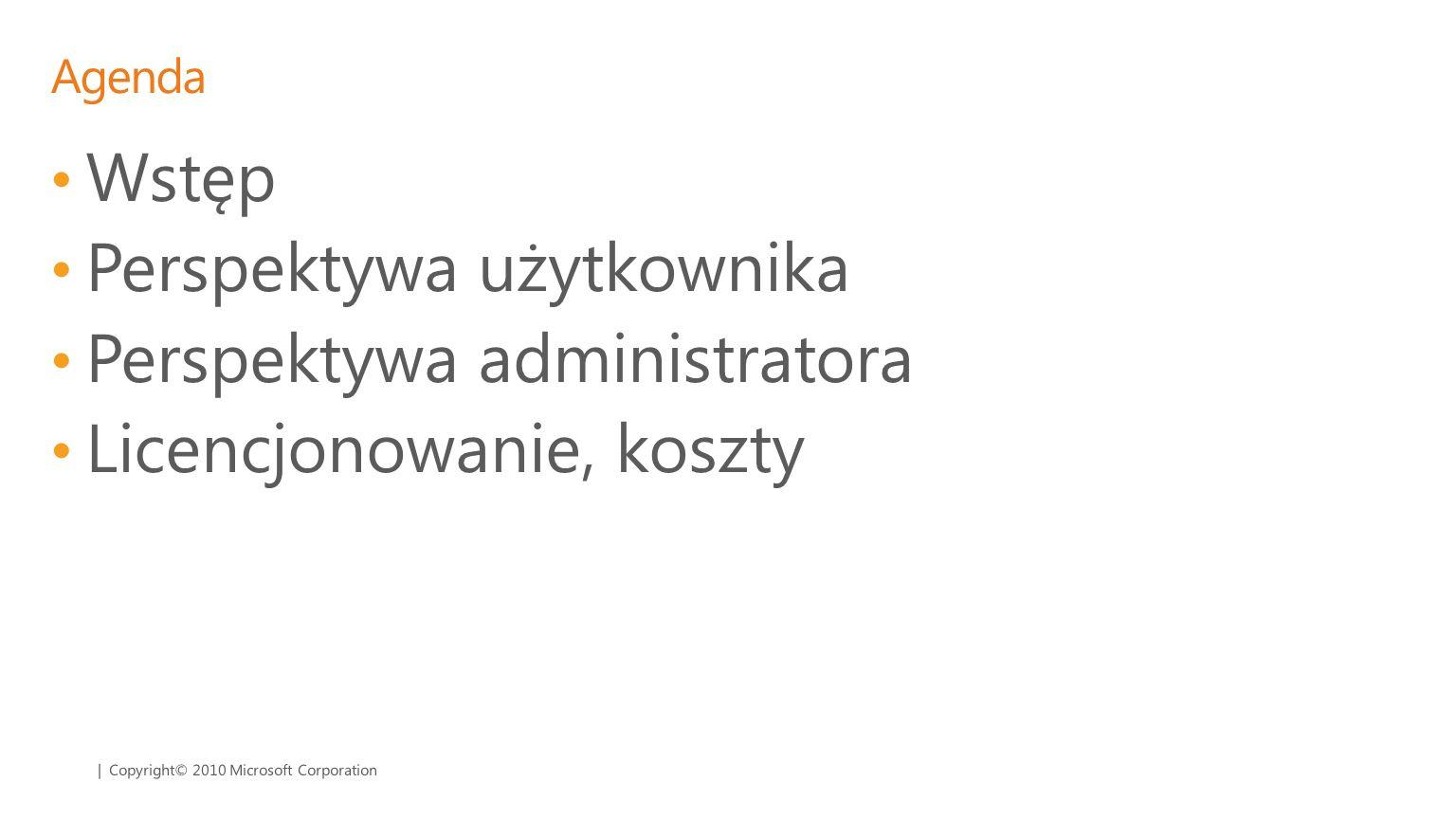 Perspektywa użytkownika Perspektywa administratora