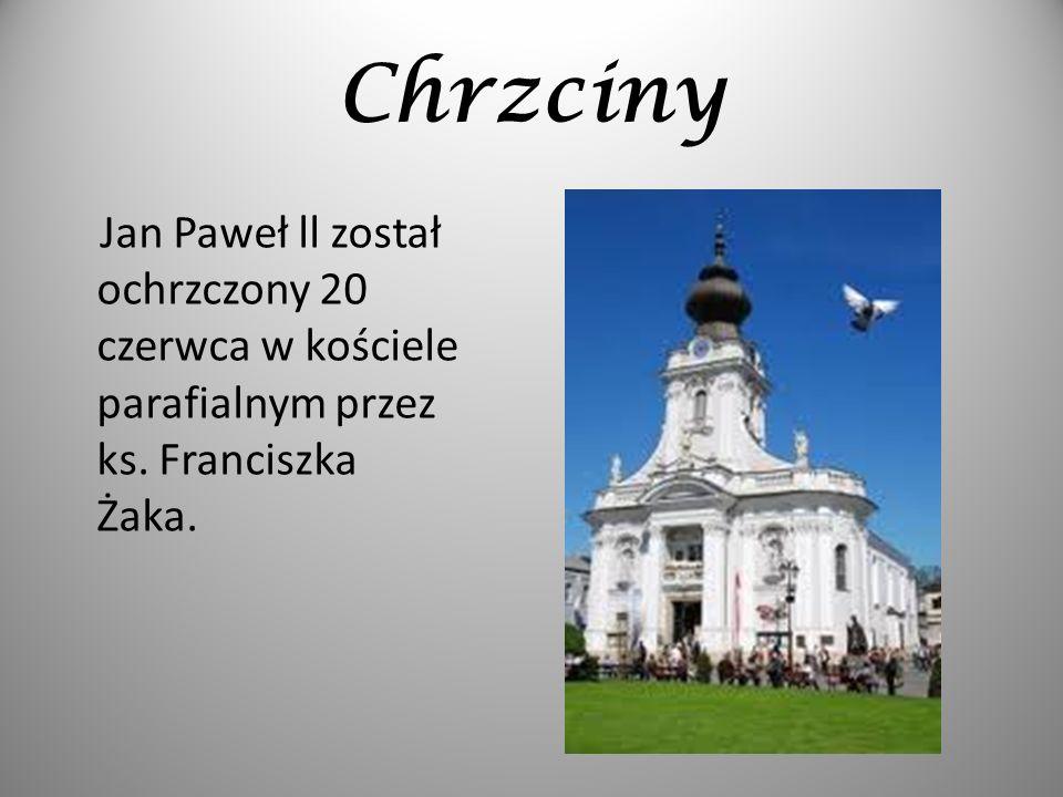 Chrzciny Jan Paweł ll został ochrzczony 20 czerwca w kościele parafialnym przez ks.
