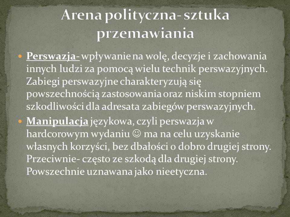 Arena polityczna- sztuka przemawiania