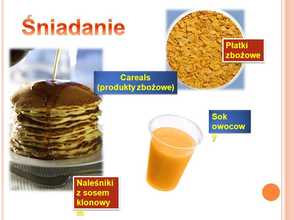 Śniadanie Płatki zbożowe Careals (produkty zbożowe) Sok owocowy