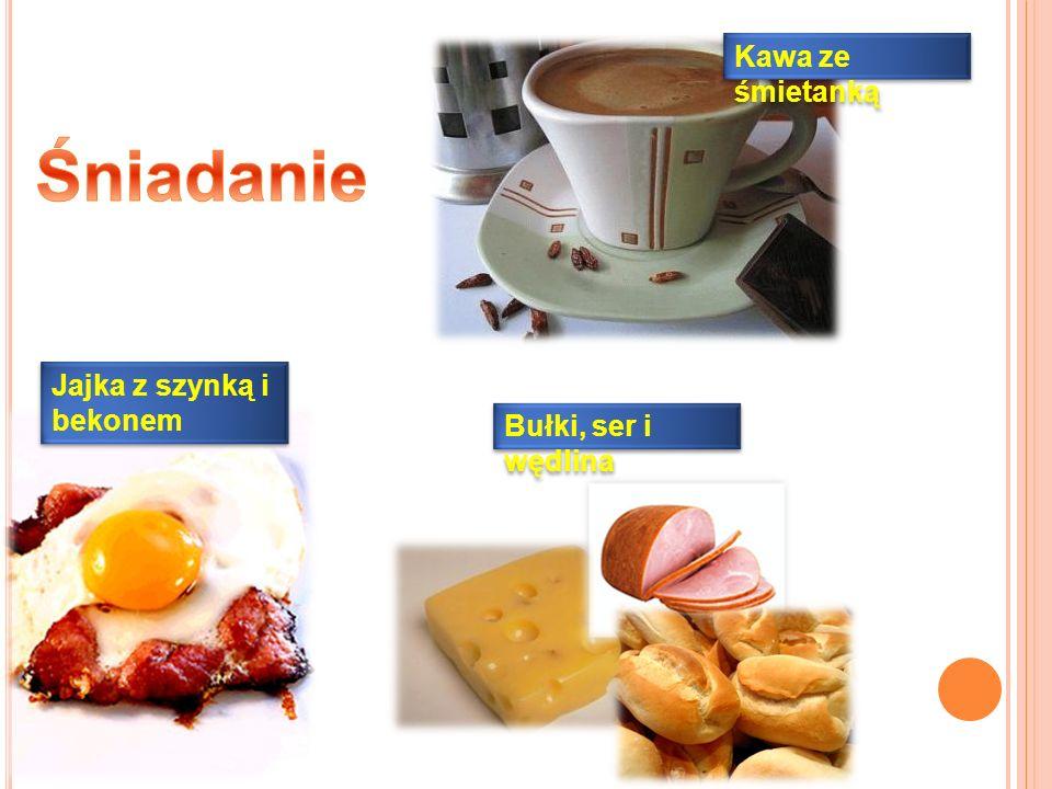 Śniadanie Kawa ze śmietanką Jajka z szynką i bekonem