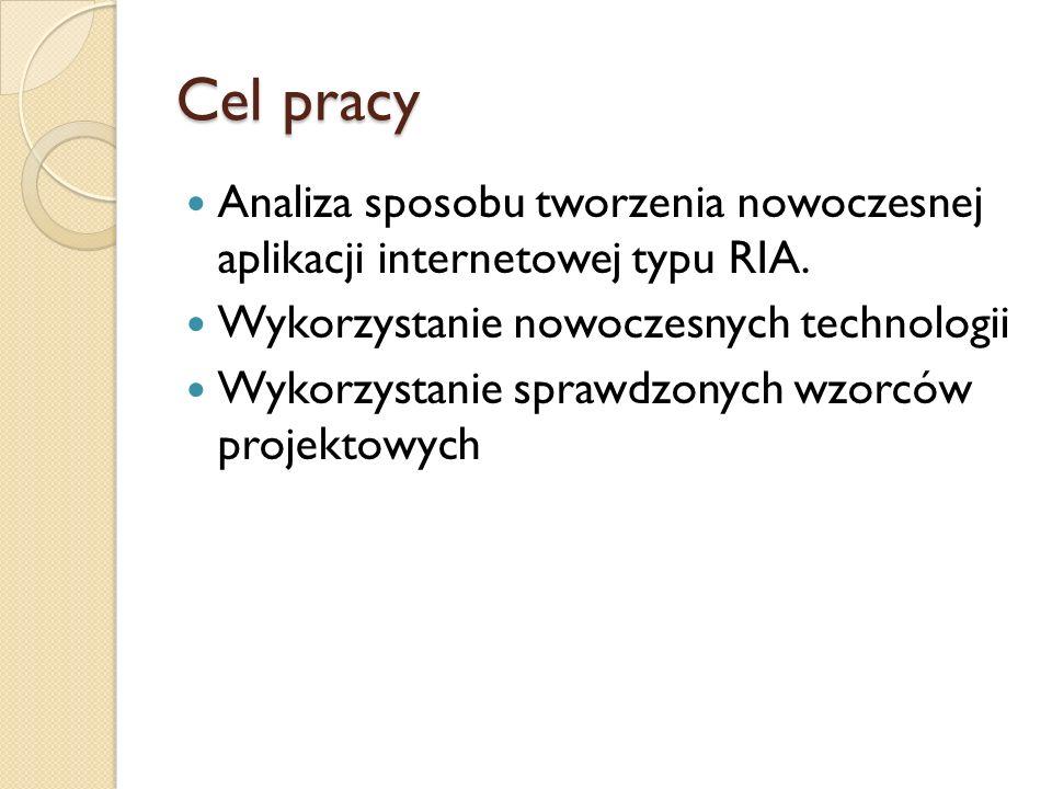 Cel pracy Analiza sposobu tworzenia nowoczesnej aplikacji internetowej typu RIA. Wykorzystanie nowoczesnych technologii.