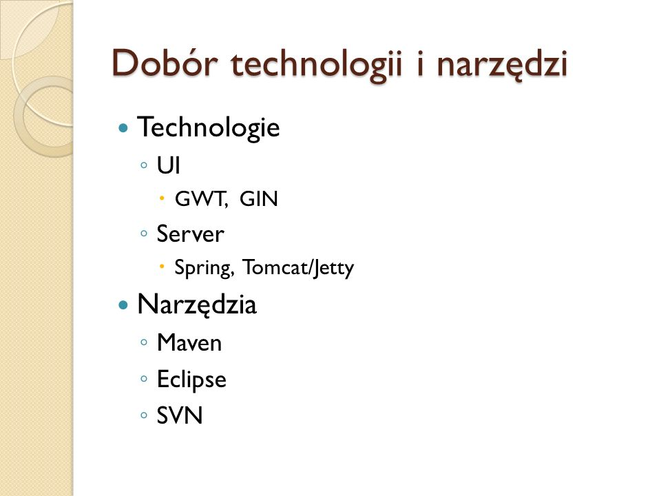 Dobór technologii i narzędzi