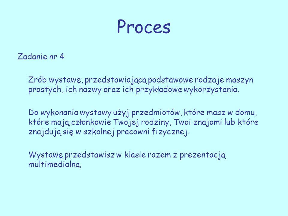 Proces Zadanie nr 4. Zrób wystawę, przedstawiającą podstawowe rodzaje maszyn prostych, ich nazwy oraz ich przykładowe wykorzystania.
