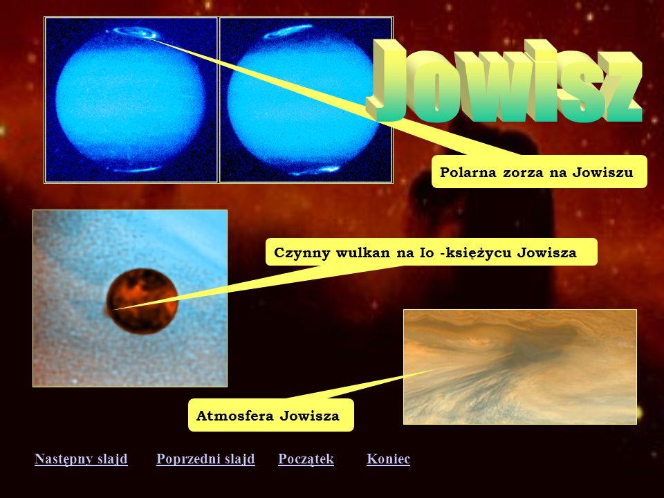 Jowisz Polarna zorza na Jowiszu Czynny wulkan na Io -księżycu Jowisza