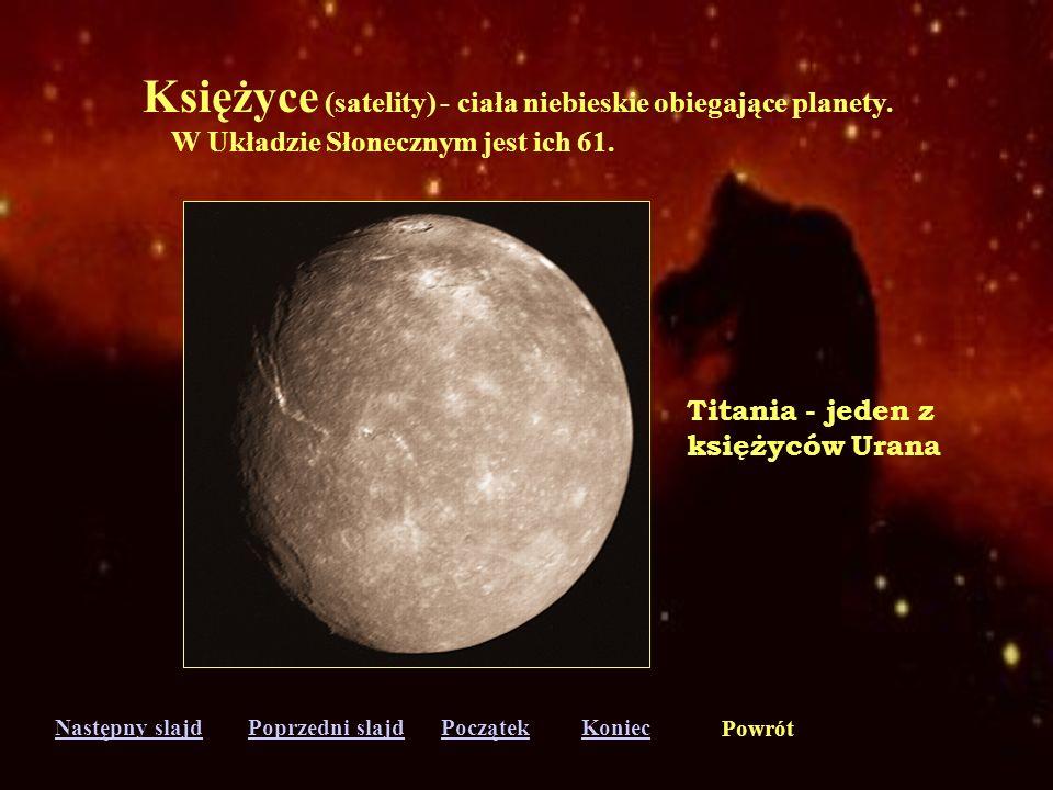 Księżyce (satelity) - ciała niebieskie obiegające planety.