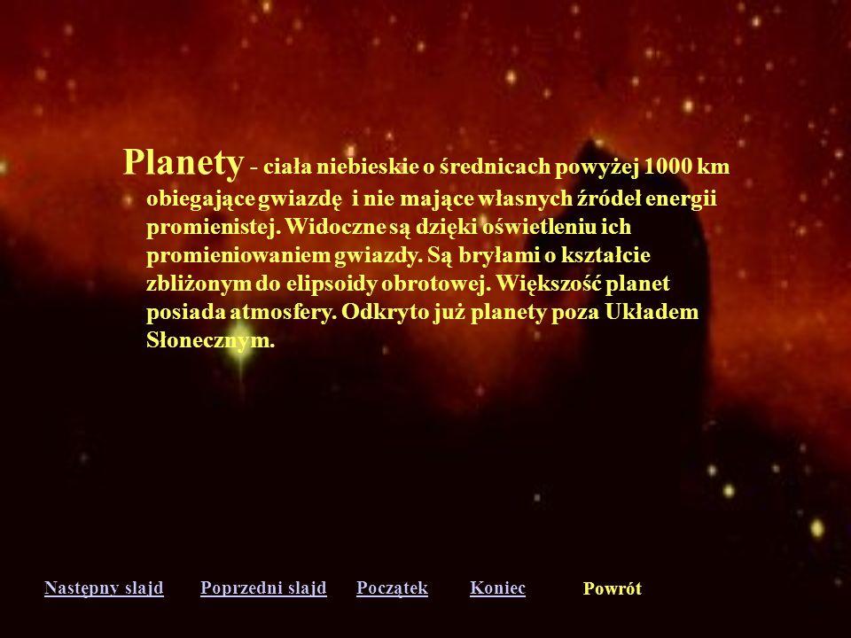 Planety - ciała niebieskie o średnicach powyżej 1000 km