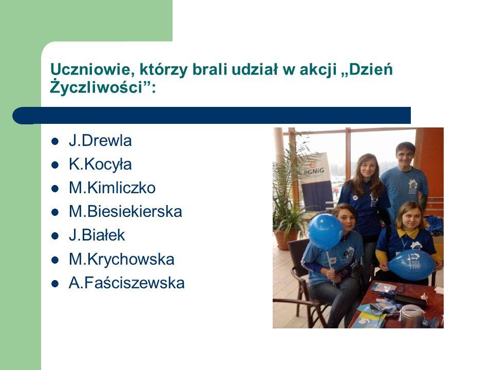 """Uczniowie, którzy brali udział w akcji """"Dzień Życzliwości :"""