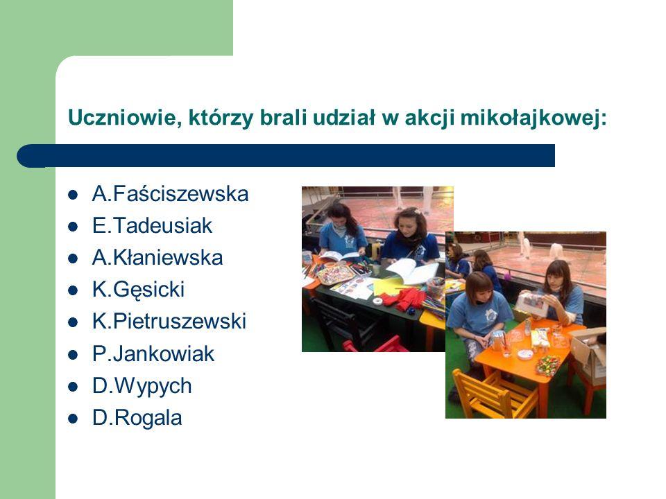Uczniowie, którzy brali udział w akcji mikołajkowej: