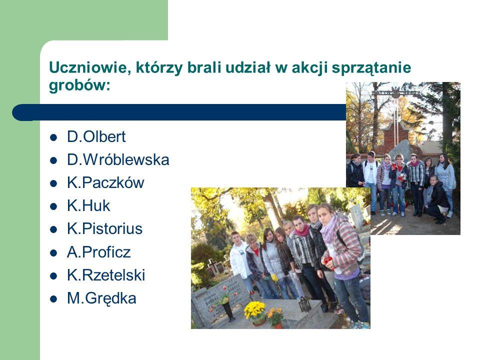 Uczniowie, którzy brali udział w akcji sprzątanie grobów: