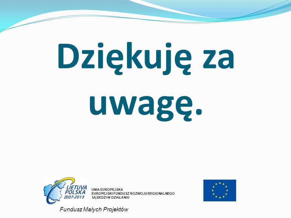 Dziękuję za uwagę. Fundusz Małych Projektów UNIA EUROPEJSKA