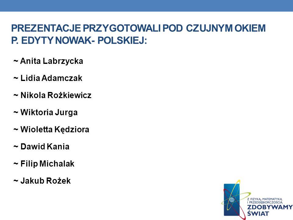 Prezentacje przygotowali pod czujnym okiem P. Edyty nowak- polskiej:
