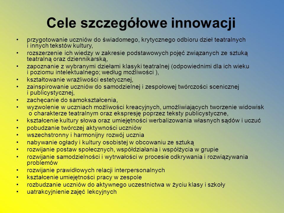 Cele szczegółowe innowacji