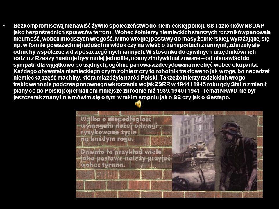 Bezkompromisową nienawiść żywiło społeczeństwo do niemieckiej policji, SS i członków NSDAP jako bezpośrednich sprawców terroru.
