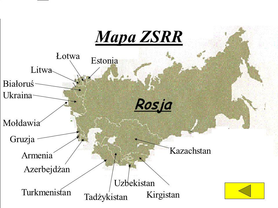 Mapa ZSRR Łotwa Estonia Litwa Białoruś Ukraina Mołdawia Gruzja