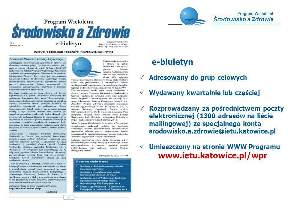 e-biuletyn www.ietu.katowice.pl/wpr Adresowany do grup celowych