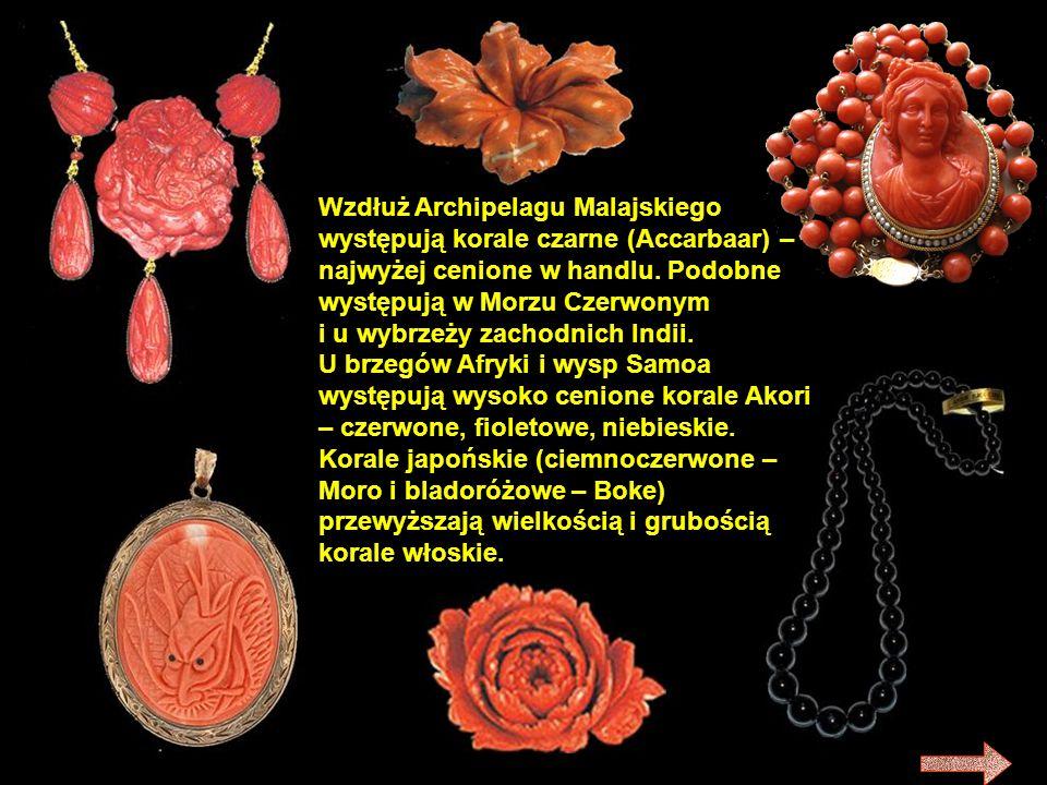 Wzdłuż Archipelagu Malajskiego występują korale czarne (Accarbaar) – najwyżej cenione w handlu. Podobne występują w Morzu Czerwonym i u wybrzeży zachodnich Indii.