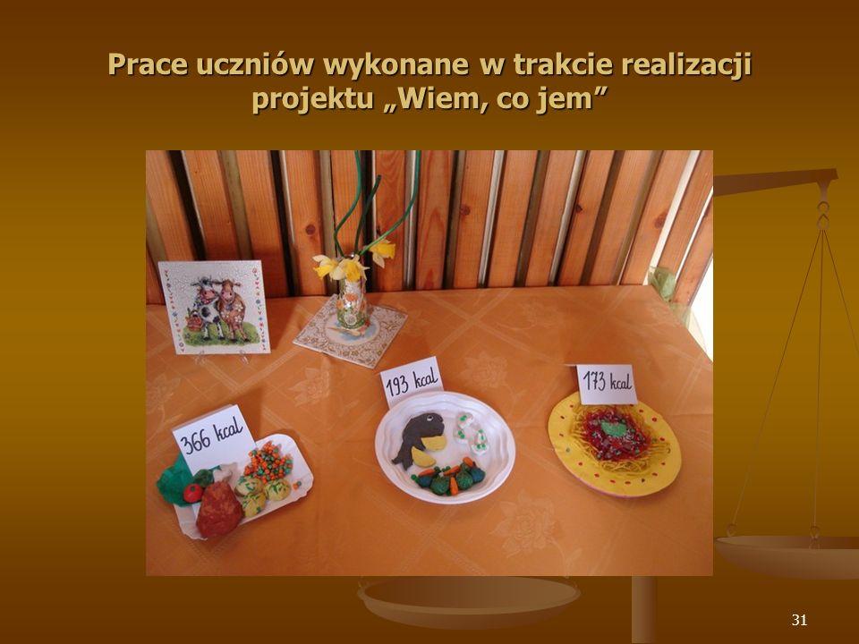 """Prace uczniów wykonane w trakcie realizacji projektu """"Wiem, co jem"""