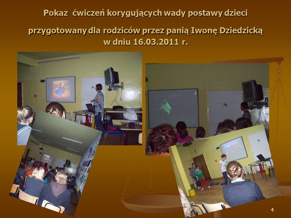 Pokaz ćwiczeń korygujących wady postawy dzieci przygotowany dla rodziców przez panią Iwonę Dziedzicką w dniu 16.03.2011 r.