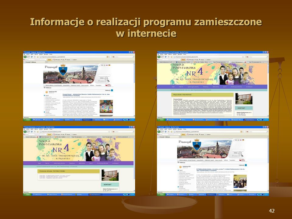 Informacje o realizacji programu zamieszczone w internecie
