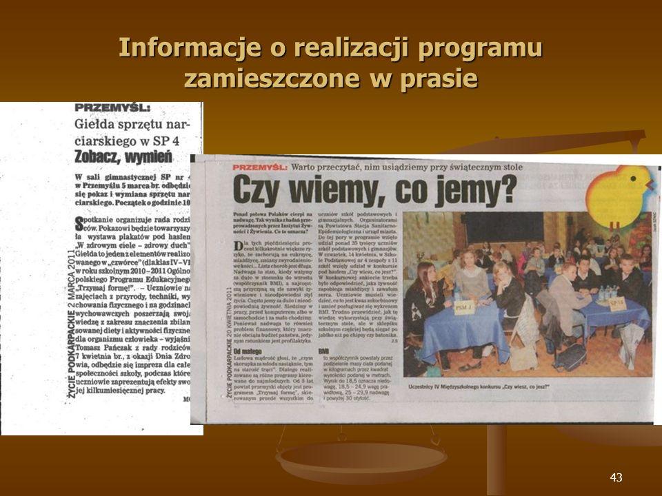 Informacje o realizacji programu zamieszczone w prasie