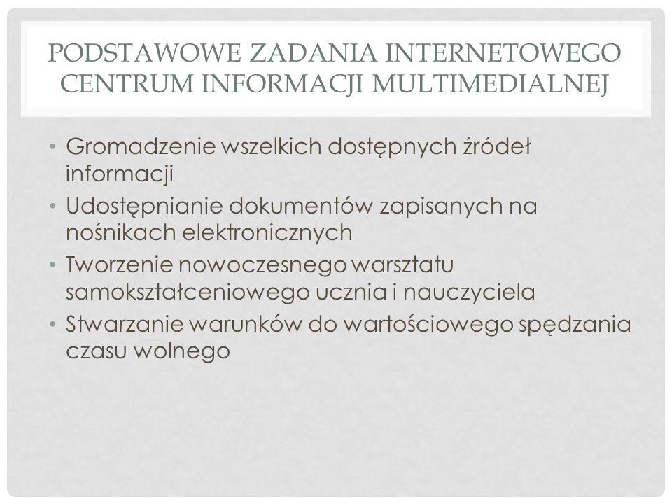 PODSTAWOWE ZADANIA INTERNETOWEGO CENTRUM INFORMACJI MULTIMEDIALNEJ