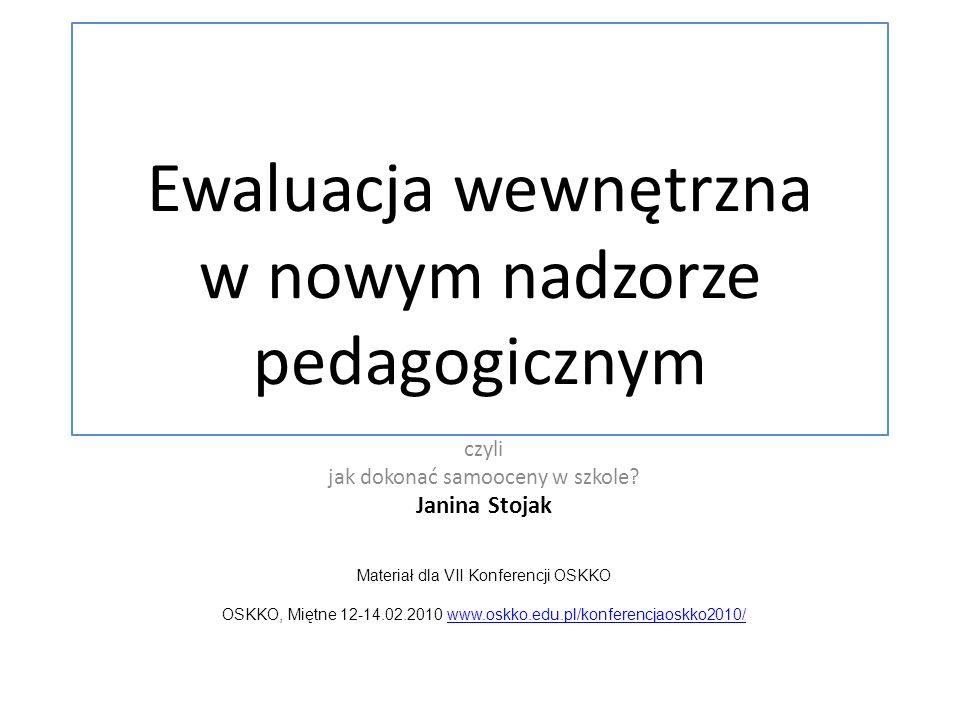 Ewaluacja wewnętrzna w nowym nadzorze pedagogicznym