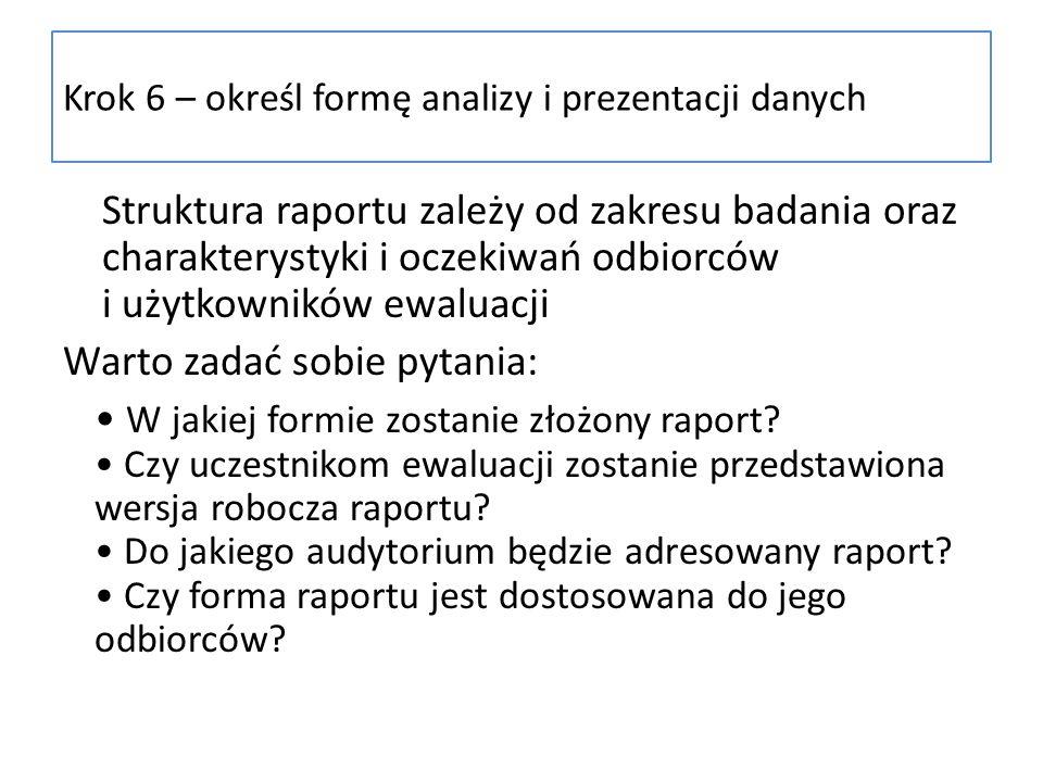 Krok 6 – określ formę analizy i prezentacji danych