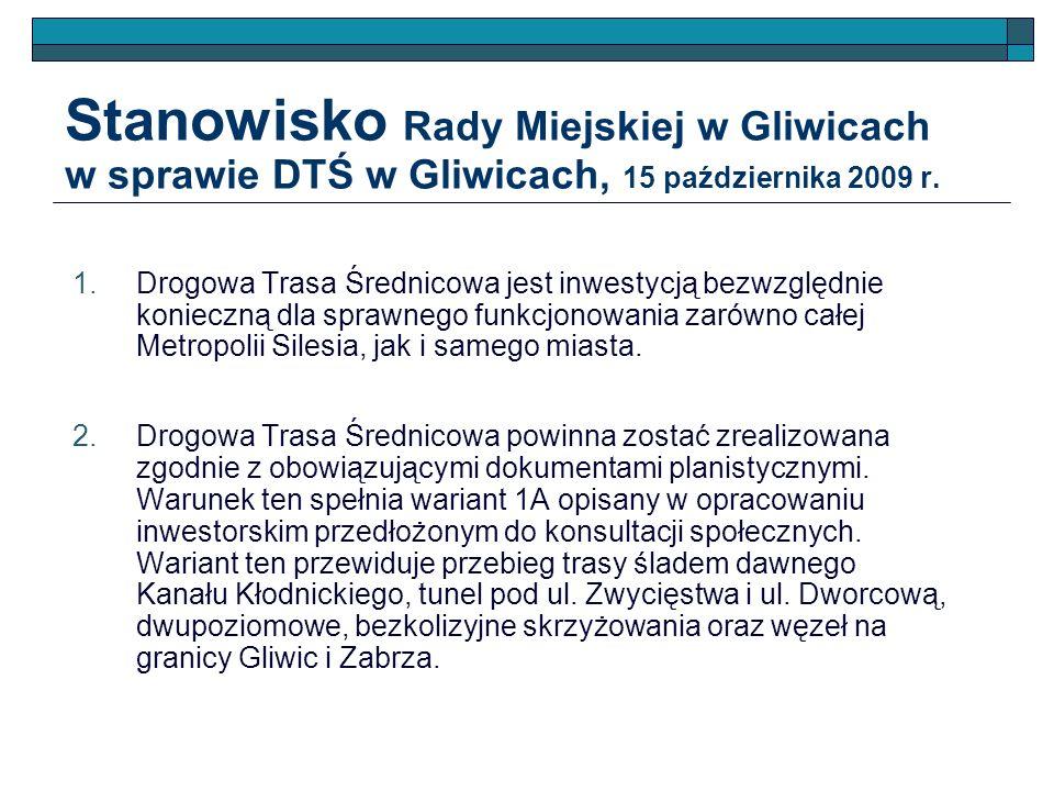 Stanowisko Rady Miejskiej w Gliwicach w sprawie DTŚ w Gliwicach, 15 października 2009 r.
