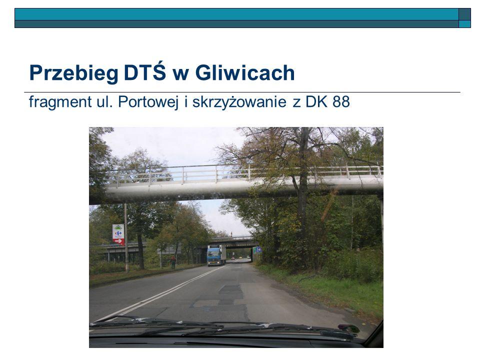 Przebieg DTŚ w Gliwicach fragment ul. Portowej i skrzyżowanie z DK 88