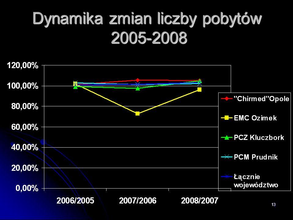 Dynamika zmian liczby pobytów 2005-2008