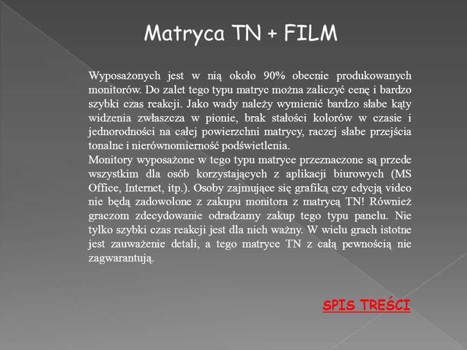 Matryca TN + FILM SPIS TREŚCI