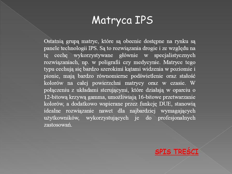 Matryca IPS SPIS TREŚCI