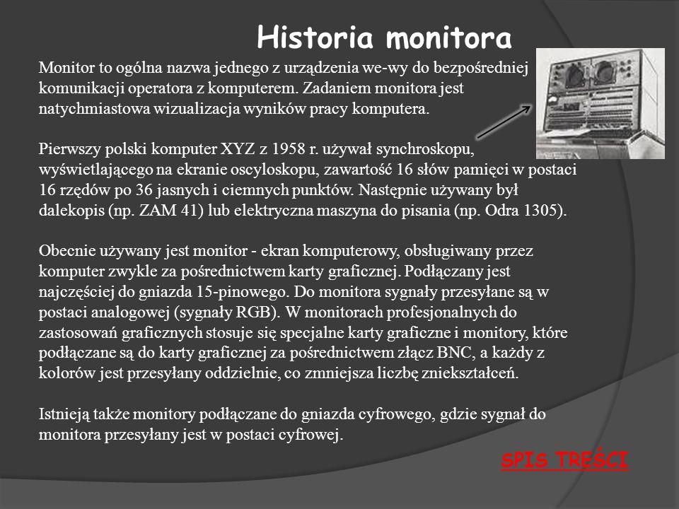 Historia monitora SPIS TREŚCI