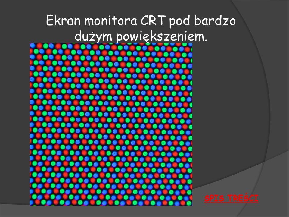 Ekran monitora CRT pod bardzo dużym powiększeniem.