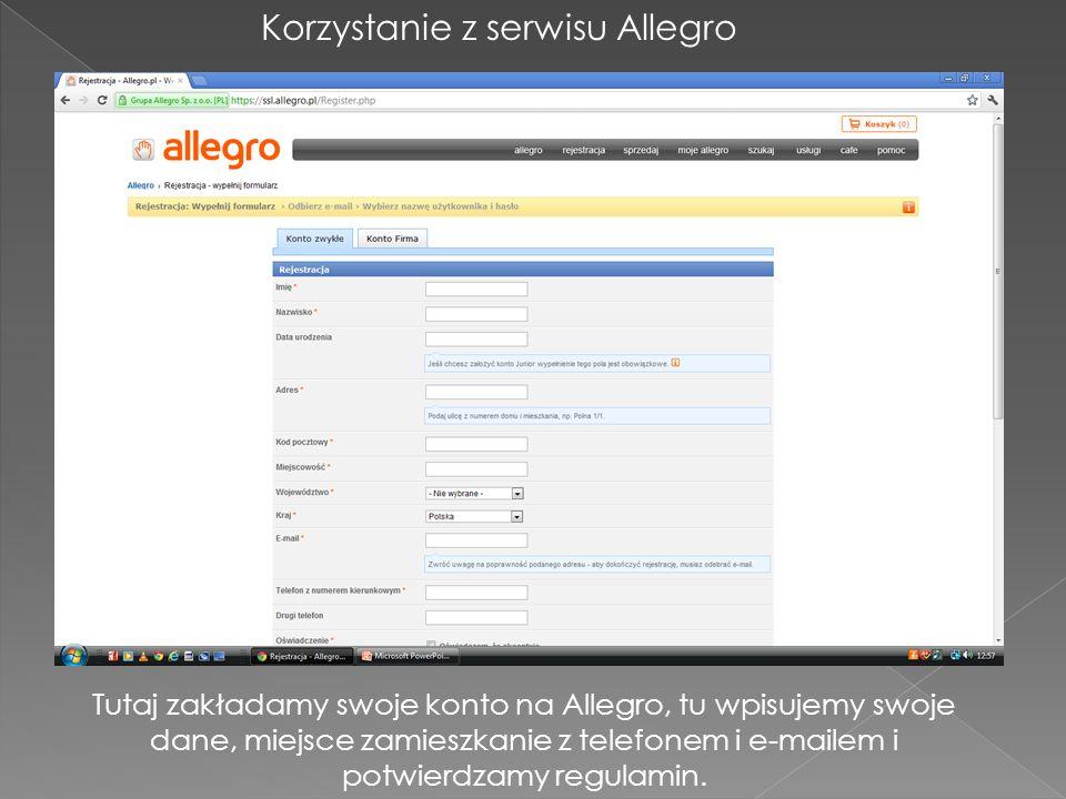 Korzystanie z serwisu Allegro