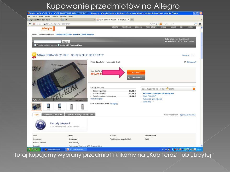 Kupowanie przedmiotów na Allegro