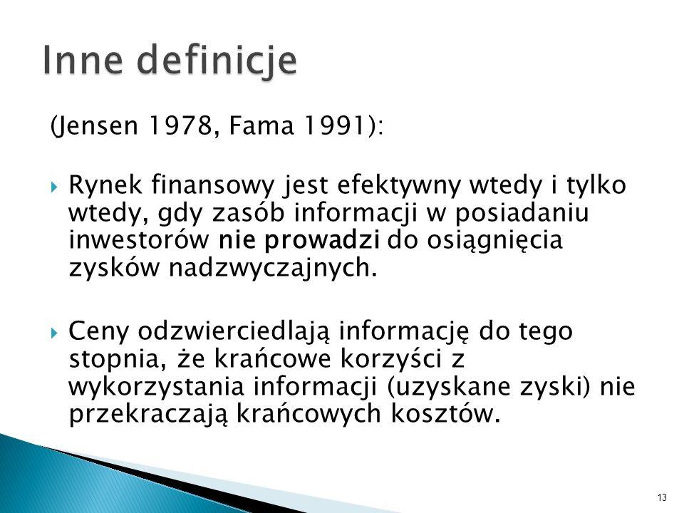 Inne definicje (Jensen 1978, Fama 1991):