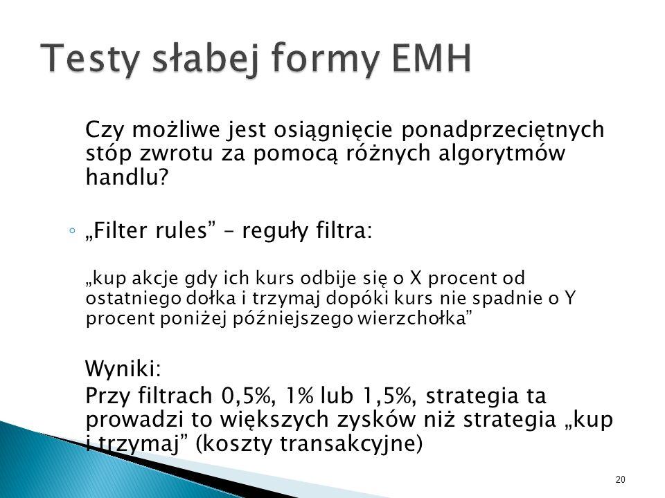 Testy słabej formy EMH Czy możliwe jest osiągnięcie ponadprzeciętnych stóp zwrotu za pomocą różnych algorytmów handlu