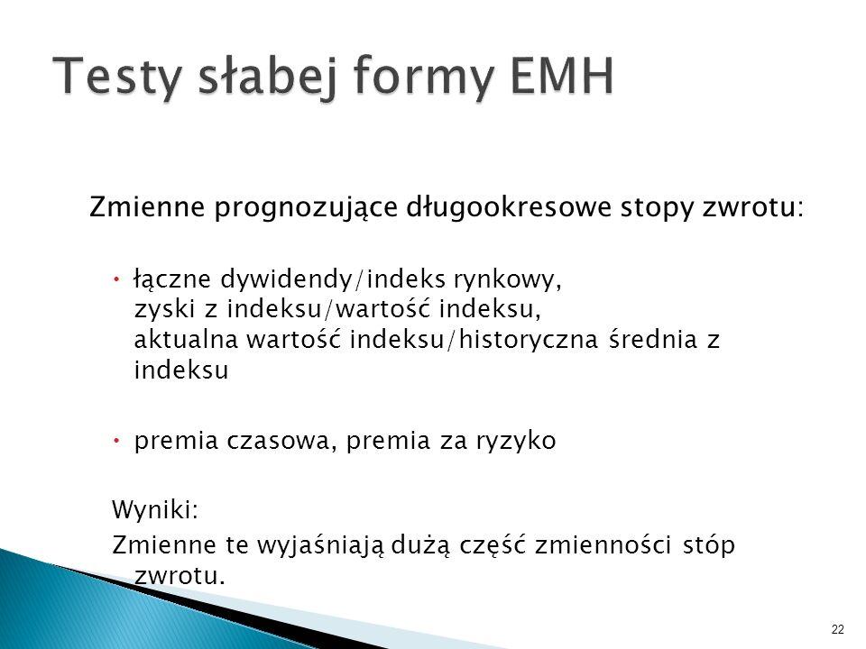 Testy słabej formy EMH Zmienne prognozujące długookresowe stopy zwrotu: