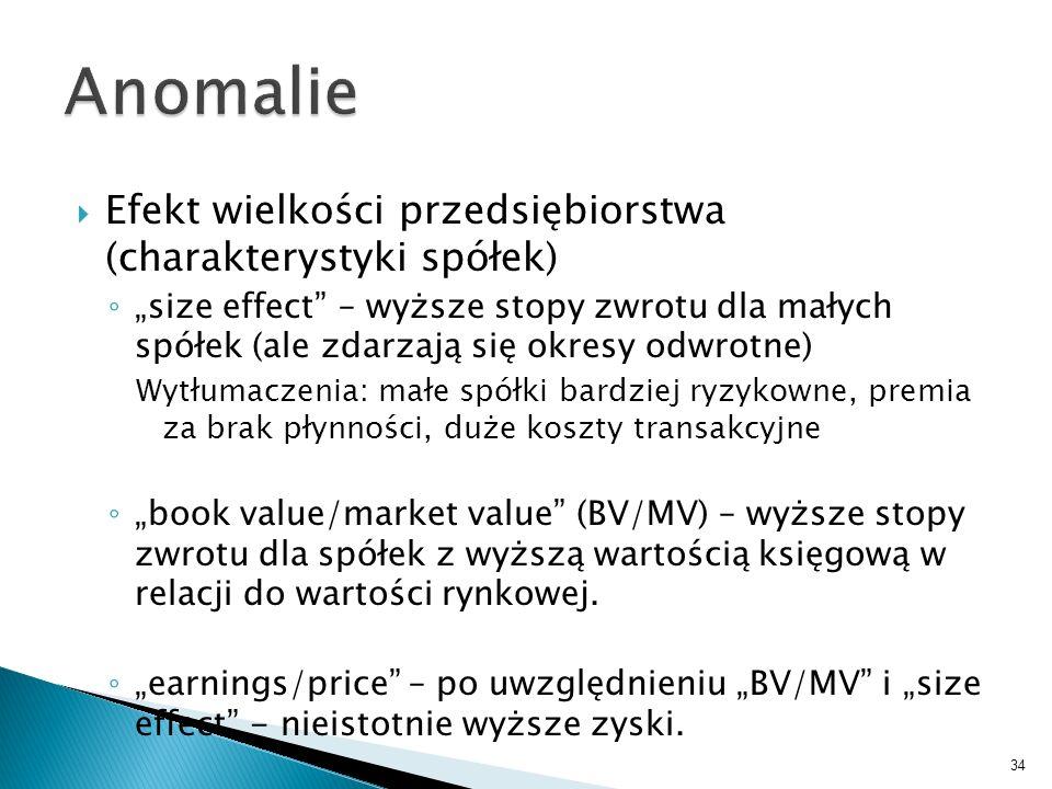 Anomalie Efekt wielkości przedsiębiorstwa (charakterystyki spółek)