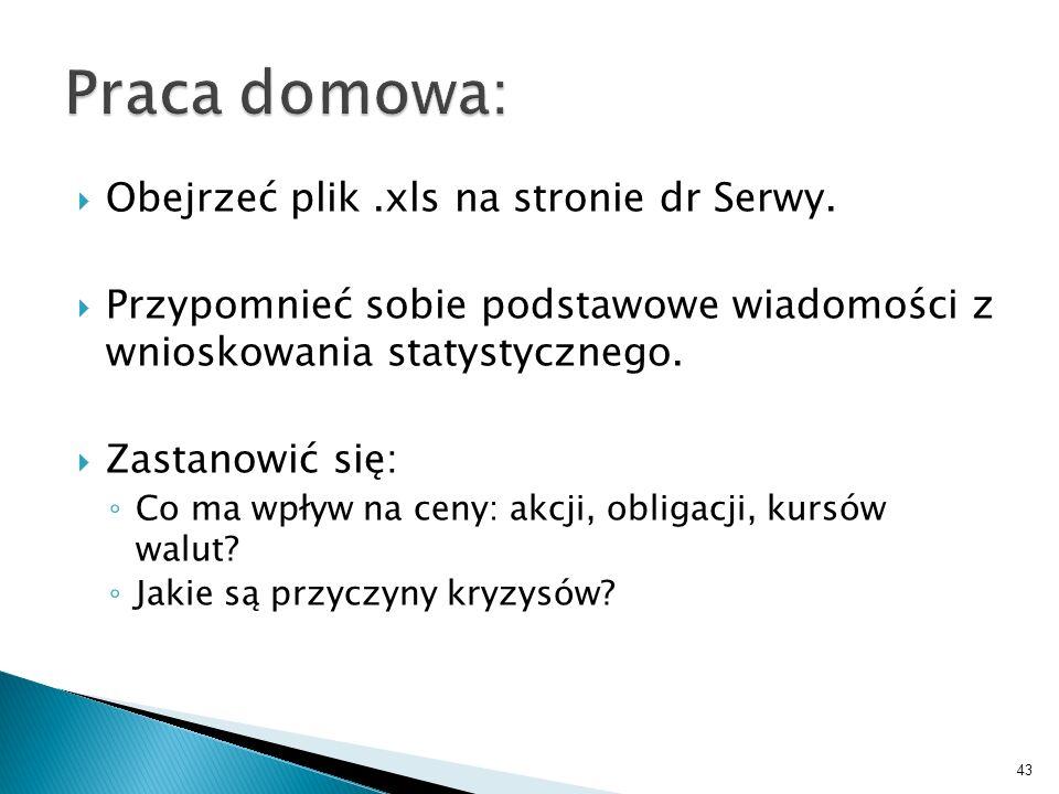 Praca domowa: Obejrzeć plik .xls na stronie dr Serwy.