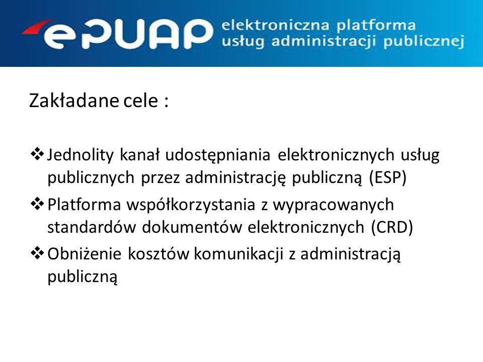 Zakładane cele : Jednolity kanał udostępniania elektronicznych usług publicznych przez administrację publiczną (ESP)