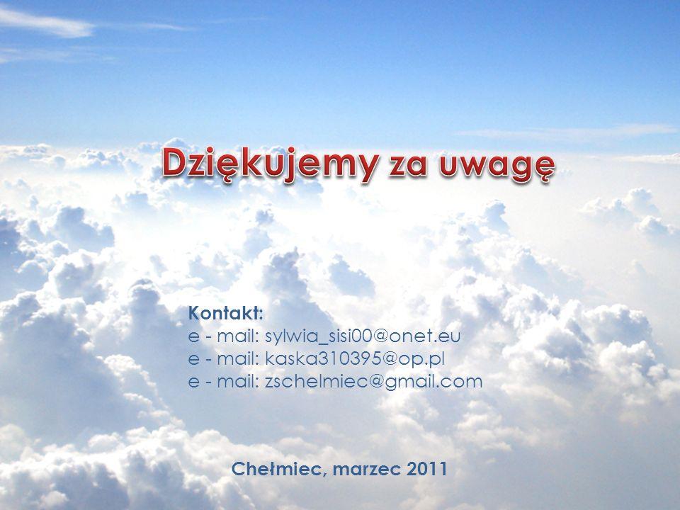 Dziękujemy za uwagę Kontakt: e - mail: sylwia_sisi00@onet.eu