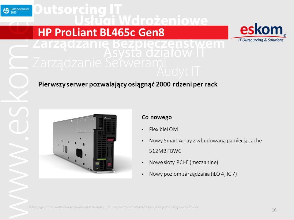 HP ProLiant BL465c Gen8 Pierwszy serwer pozwalający osiągnąć 2000 rdzeni per rack. Co nowego. FlexibleLOM.